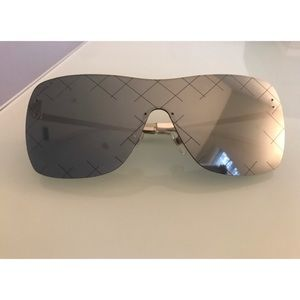 Chanel Shield Quilted Mirrored Sunglasses silver